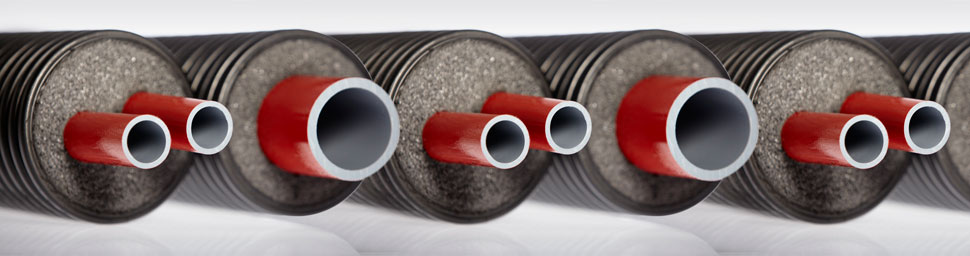 Polybutene thermal insulated piping Flexalen Thermaflex District energy