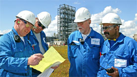 LyondellBasell technicians at the Polybutene plant located in Moerdijk, The Netherlands.